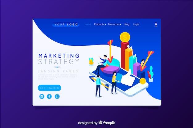 Page de destination de la stratégie marketing Vecteur gratuit