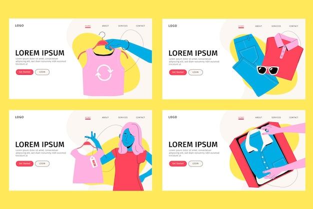 Page De Destination De Swap De Vêtements De Marché Aux Puces Dessinés à La Main Vecteur gratuit