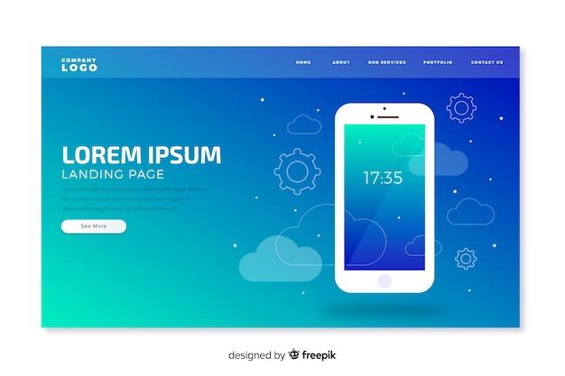 Page de destination de la technologie mobile Vecteur gratuit