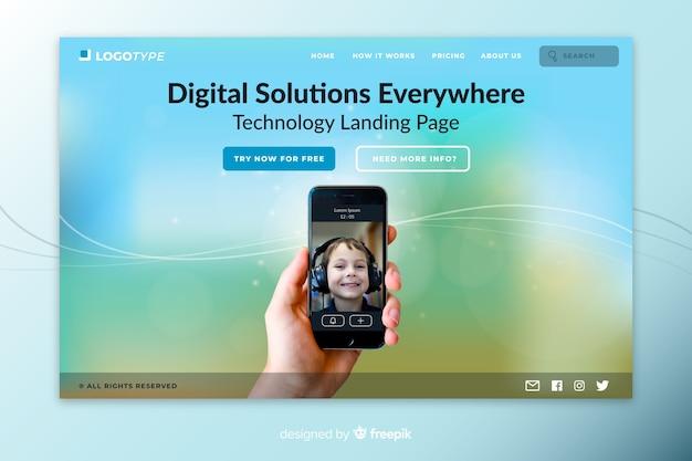 Page De Destination De La Technologie Des Solutions Numériques Vecteur gratuit