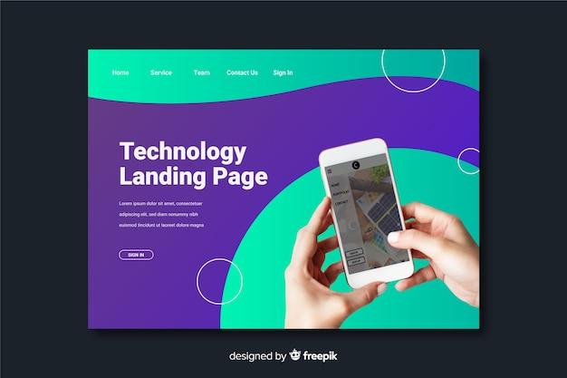Page de destination de la technologie téléphonique Vecteur gratuit