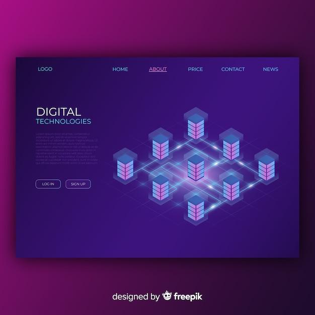 Page de destination des technologies numériques Vecteur gratuit