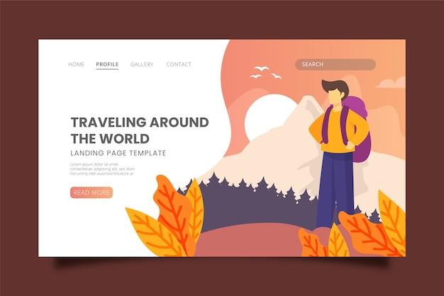 Page de destination sur le thème des voyages Vecteur gratuit
