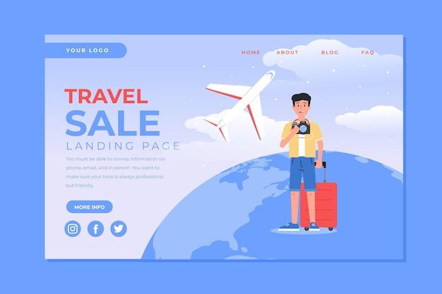 Page De Destination De La Vente De Voyages Vecteur gratuit