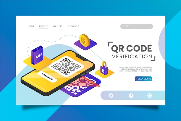 Page De Destination De La Vérification Du Code Qr Vecteur gratuit