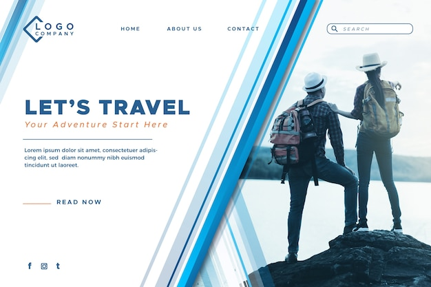 Page de destination voyage avec image Vecteur gratuit