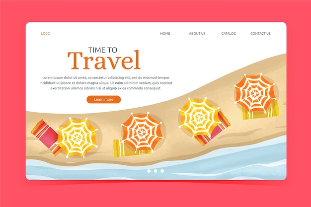 Page de destination de voyage modèle design plat Vecteur gratuit