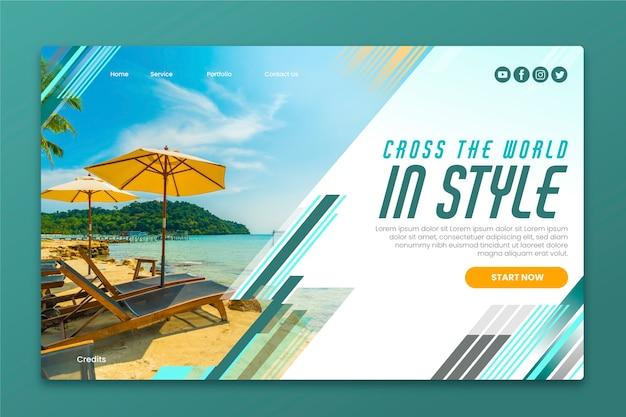 Page de destination de voyage avec photo Vecteur gratuit