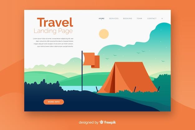 Page de destination de voyage à plat Vecteur gratuit