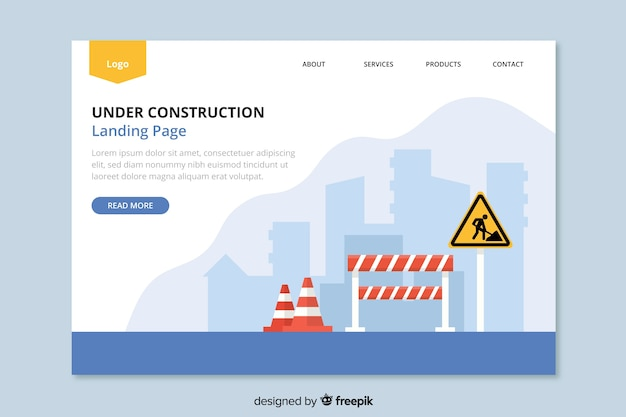 Page de destination web en construction Vecteur gratuit