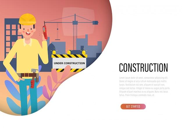 Page de destination web de l'industrie du génie construction. Vecteur Premium