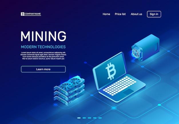 Page d'extraction de crypto-monnaie Vecteur Premium