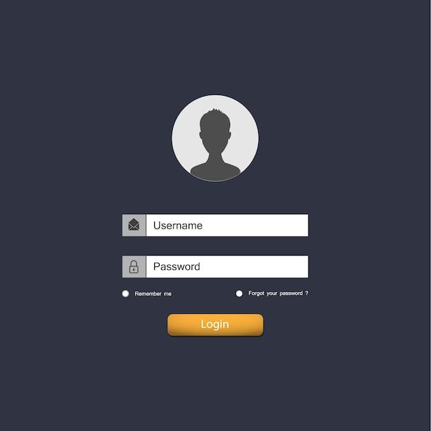 Page De Formulaire De Connexion. éléments D'interface Utilisateur Du Site Web. Vecteur Premium