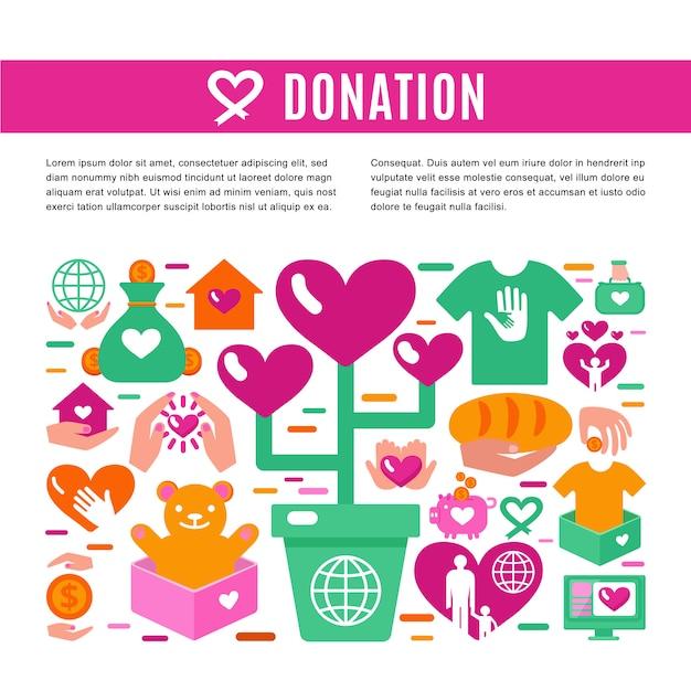 Page d'information sur les dons de charité Vecteur Premium