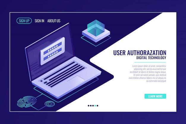 Page d'inscription ou de connexion de l'utilisateur, commentaires, ordinateur portable avec formulaire d'autorisation, modèle de page web Vecteur gratuit
