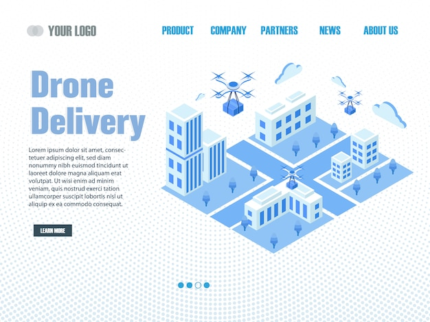 Page De Livraison De Drone Vecteur Premium