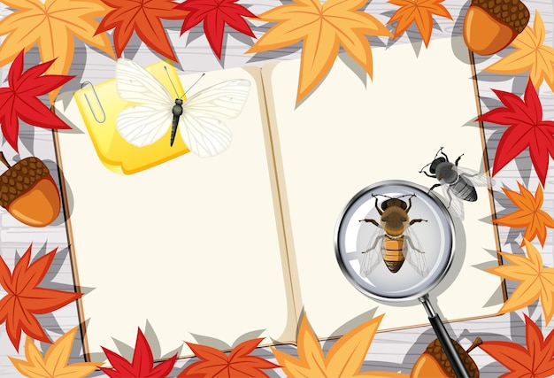 Page De Livre Blanc Sur Le Travail De Bureau Avec Des Feuilles Et Des Insectes Vecteur gratuit