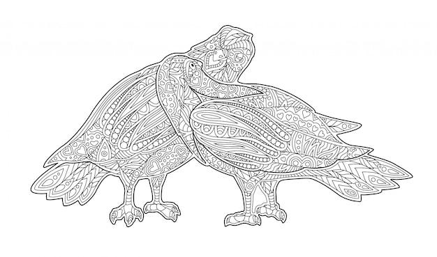 Page De Livre De Coloriage Adulte Avec Deux Pigeons S Embrasser