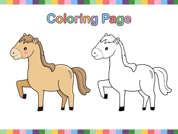Page De Livre De Coloriage De Dessin Animé De Contour De Cheval Vecteur Premium