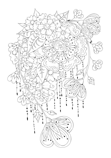 Page De Livre De Coloriage De Fleurs Avec Des Fleurs Abstraites. Vecteur Premium