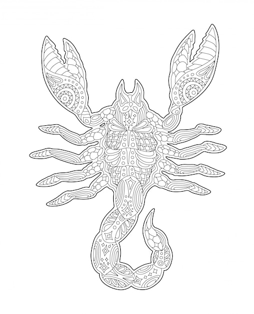 Page de livre à colorier avec le symbole du zodiaque scorpion Vecteur Premium