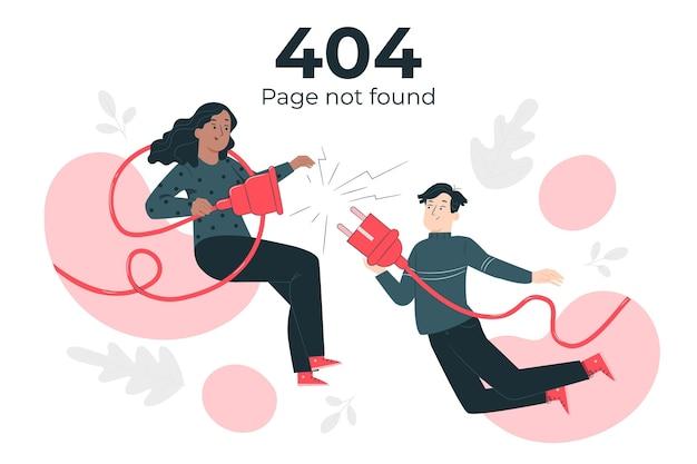 Page Non Trouvée Avec Des Personnes Connectant Une Illustration De Concept De Prise Vecteur gratuit