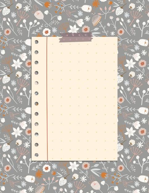 Page de note mignonne avec le motif de fleurs et de feuilles, un organisateur de papeterie pour les plans quotidiens. Vecteur Premium