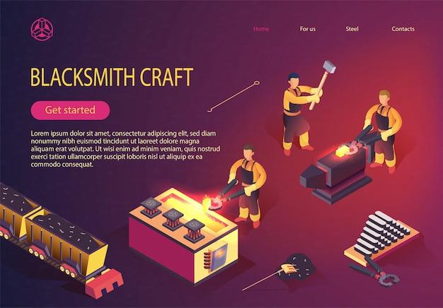 Page de l'usine métallurgique avec équipement mécanique Vecteur Premium