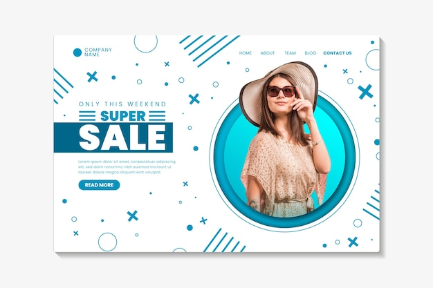Page de vente abstraite avec photo Vecteur gratuit