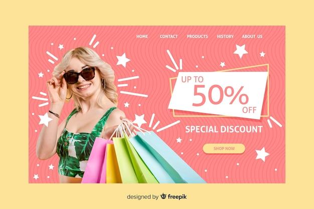 Page de vente avec photo Vecteur gratuit