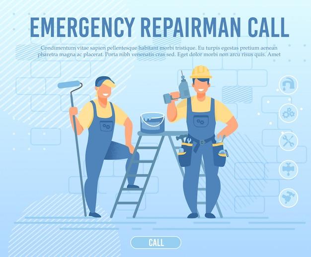 Page Web D'appel Plat De L'équipe De Réparateurs D'urgence Vecteur Premium