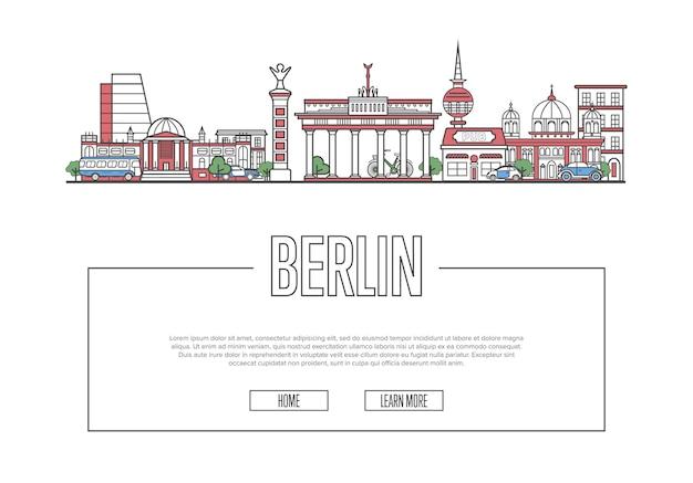 Page web voyage berlin dans un style linéaire Vecteur Premium