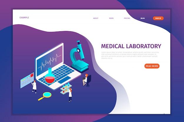 Pages d'atterrissage de laboratoire médical isométrique Vecteur Premium
