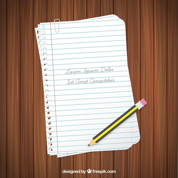 Pages de cahier et un crayon Vecteur gratuit