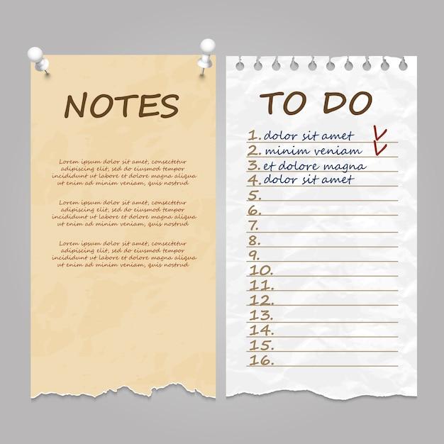 Pages déchirées pour notes, notes de service et liste de tâches Vecteur Premium