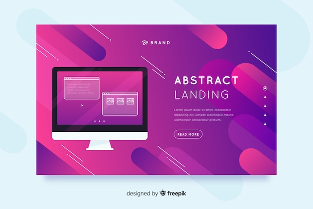 Pages de destination abstraites avec dispositifs technologiques Vecteur gratuit