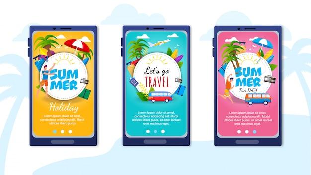 Pages de destination définies pour l'application de voyage mobile Vecteur Premium