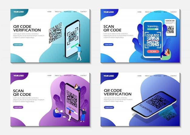 Pages De Destination. Scannez Le Code Qr, La Vérification Du Code Qr. Isométrique. Pages Web Modernes. Vecteur Premium