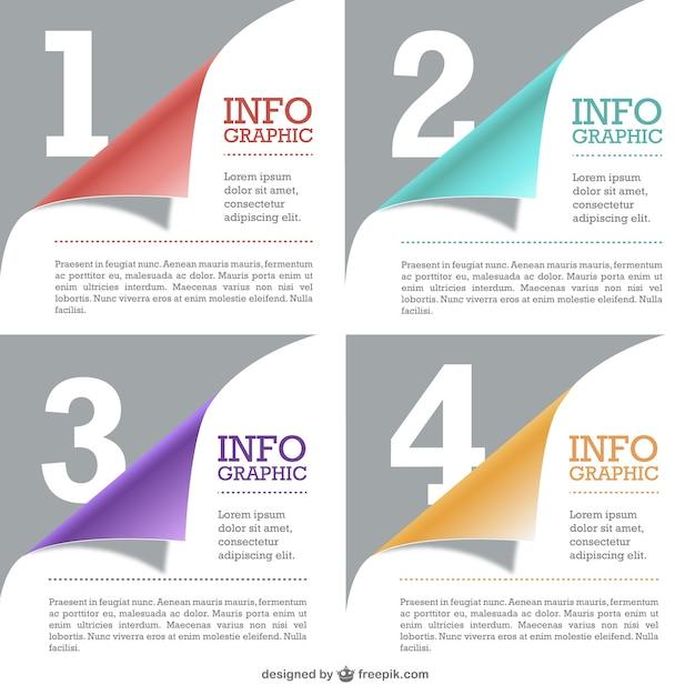 Pages enroulées de infographiques libre Vecteur gratuit