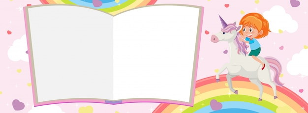 Pages De Livre Blanc Et Fille équitation Licorne Avec Arc-en-ciel Sur Fond Rose Vecteur Premium