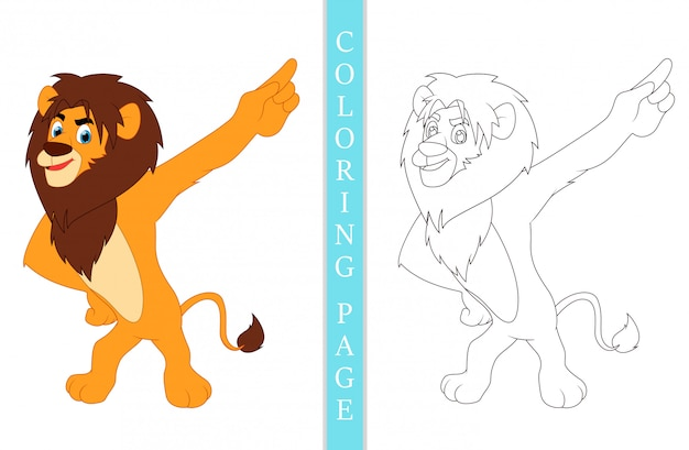 Pages De Livre De Coloriage Dessin Animé Lion Vecteur Premium