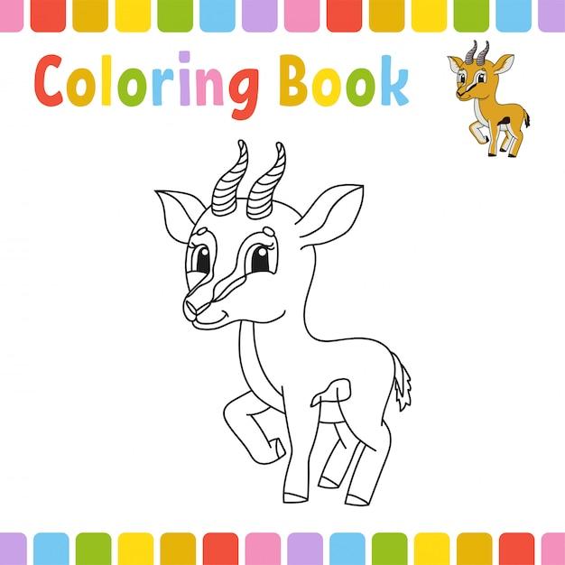 Pages De Livres à Colorier Pour Les Enfants. Illustration Vectorielle De Dessin Animé Mignon. Vecteur Premium