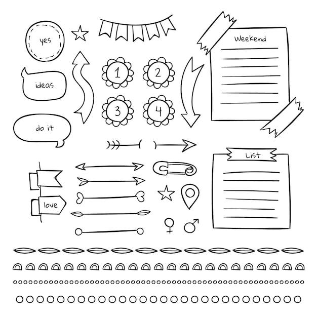 Pages Et Notes Autocollantes Du Modèle De Journal De Balle Vecteur Premium