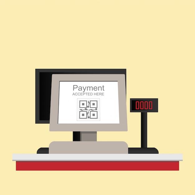 Paiement de code qr électronique de caisse enregistreuse isolé sur fond. Vecteur Premium