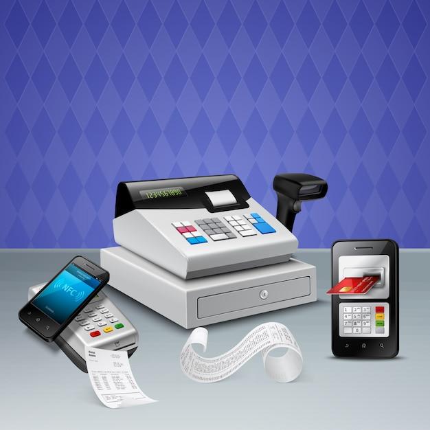Paiement électronique Par La Technologie Nfc Sur Composition Réaliste De Téléphone Intelligent Avec Caisse Enregistreuse Violet Vecteur gratuit