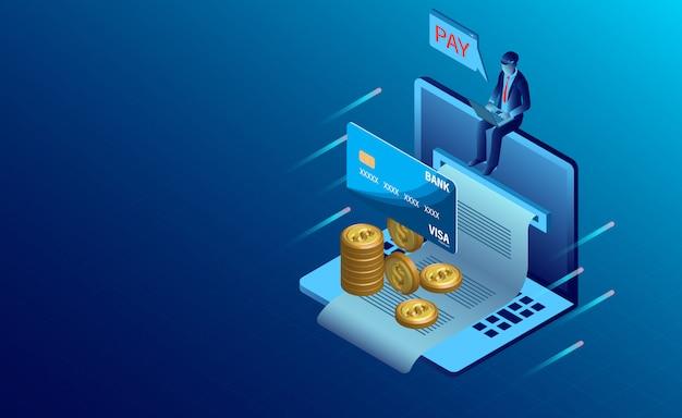 Paiement de facture électronique Vecteur Premium