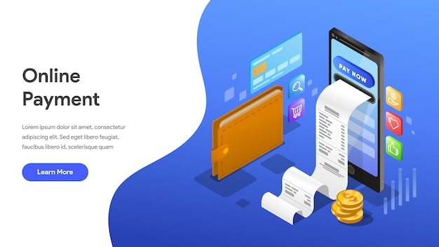 Paiement isométrique concept pour page de destination, page d'accueil, site web Vecteur Premium
