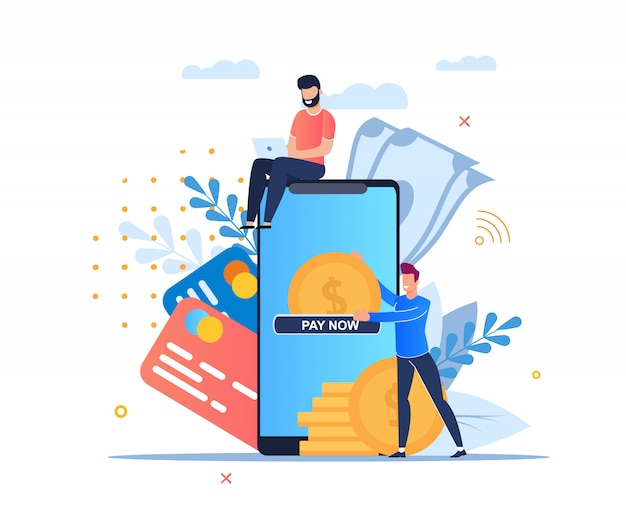 Paiement en ligne cartoon flat. Vecteur Premium