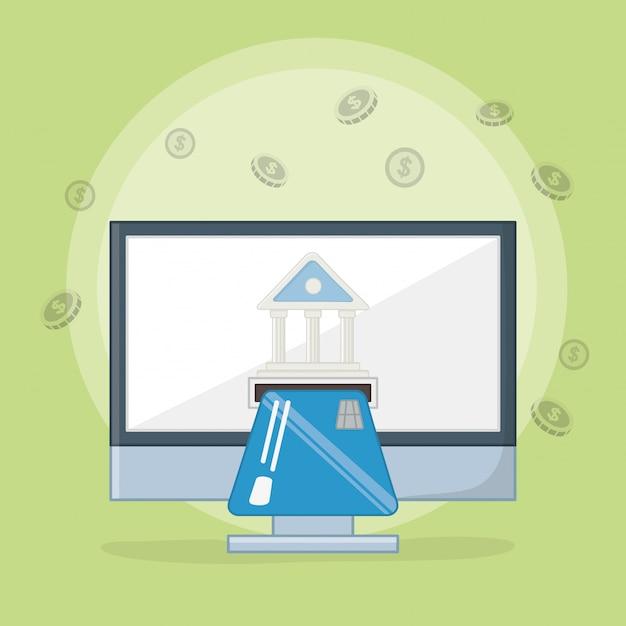 Paiement en ligne icon set design Vecteur gratuit