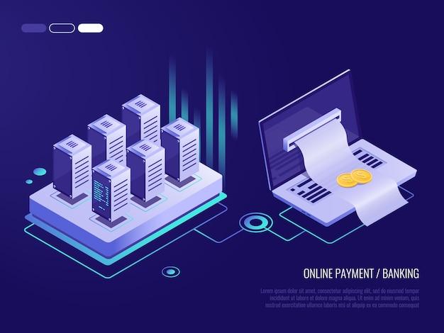 Paiement en ligne sur ordinateur portable, facture importante pour paiement sortant de l'écran de l'ordinateur portable Vecteur Premium